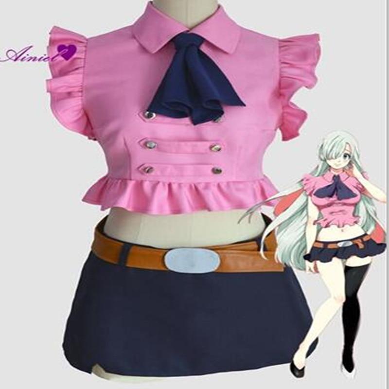 Anime The Seven Deadly Sins Elizabeth Liones Cosplay Costume Wig  Nanatsu No Taizai Cosplay Shirt Skirt For Girls