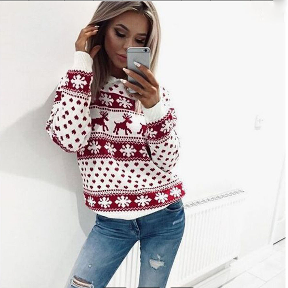 Us 5 32 28 Off Ugly Christmas Sweater Female Long Sleeve Pullover Sweater Reindeer New Year Christmas Sweater Women In Pullovers From Women S