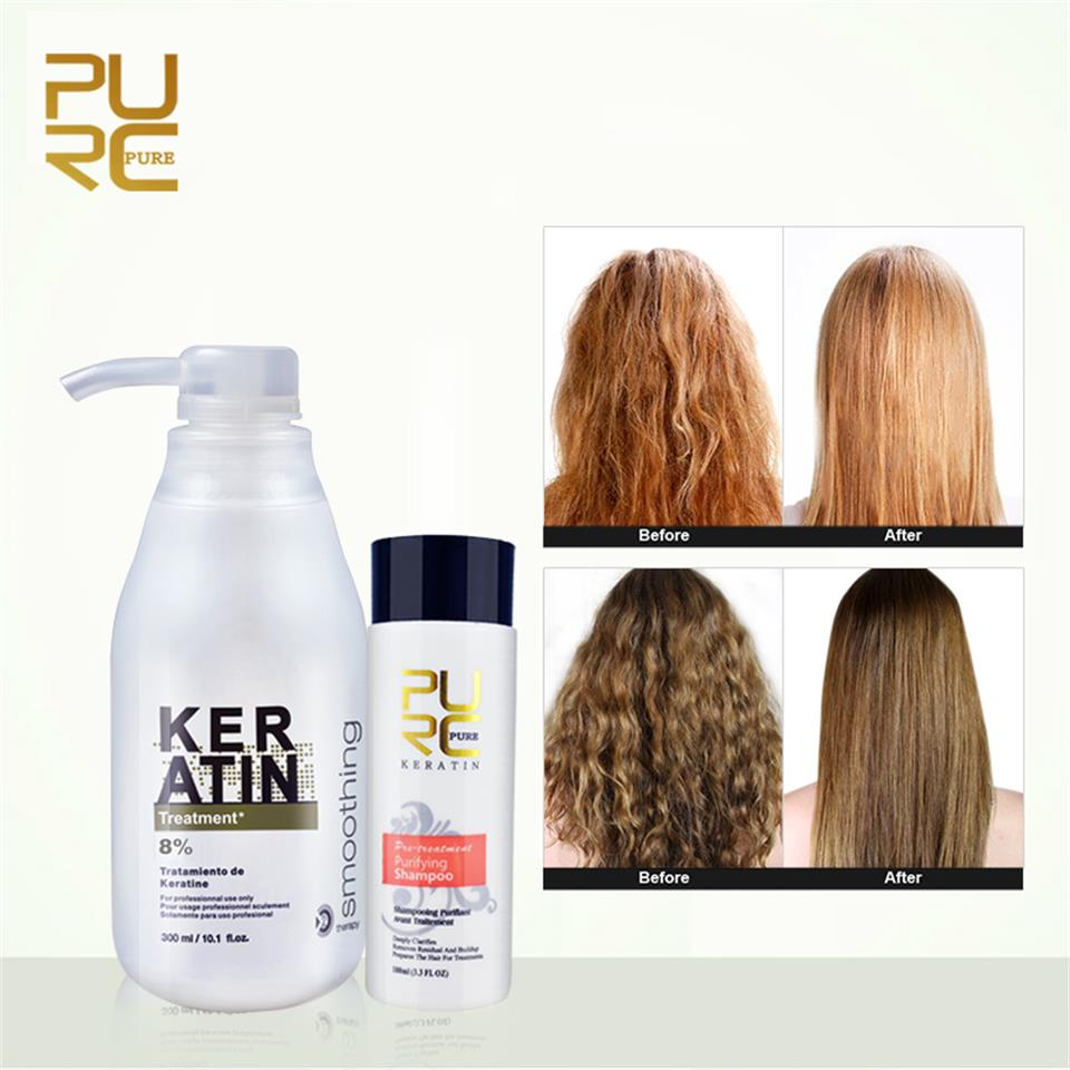 PURC 300ml 8% Formalin Keratin+Purifying Shampoo 100ml Hair Treatment Set Repair Damage Frizzy Hair Straight Hair Care Products image