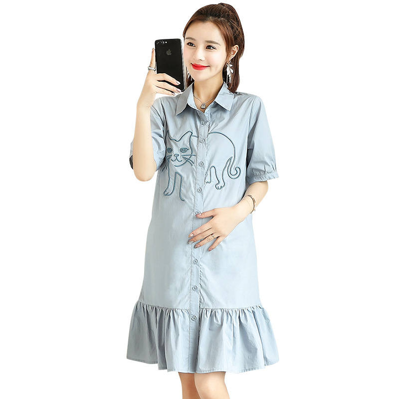 Casual Pregnancy Dress Cat Embroidery Clothing for Pregnant Women Turn-down Collar Solid Color Elegant Ruffles Maternity Dresses