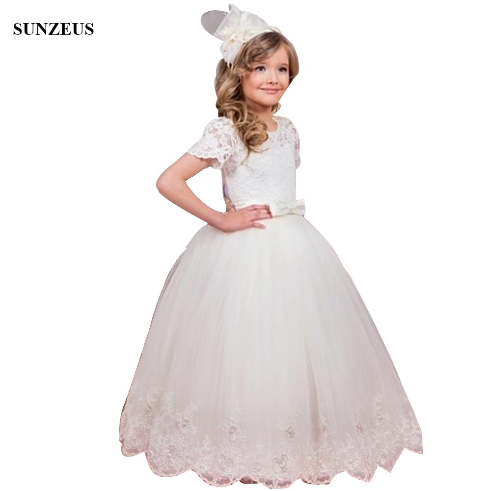 Tea Length Short Sleeve Flower Girl Dresses For Wedding Lace Corset