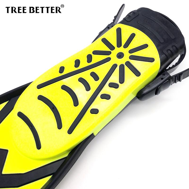 TREE BETTER adulte plongée en apnée palmes de natation talon ouvert plongeur professionnel nage pied Flipper longues palmes de plongée jaune S XL - 4