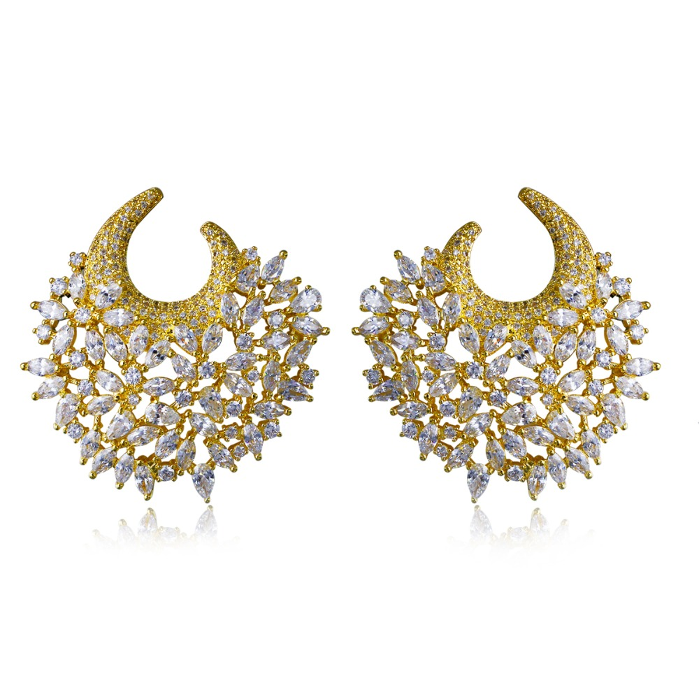 Women Earring Gold Plated With White Cz Stud Earrings Flower Classic Style Earring New Fashion