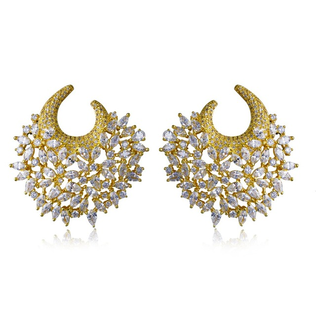 Women Earring gold plated with white CZ Stud Earrings flower Classic style earring new fashion jewelry Free shipment