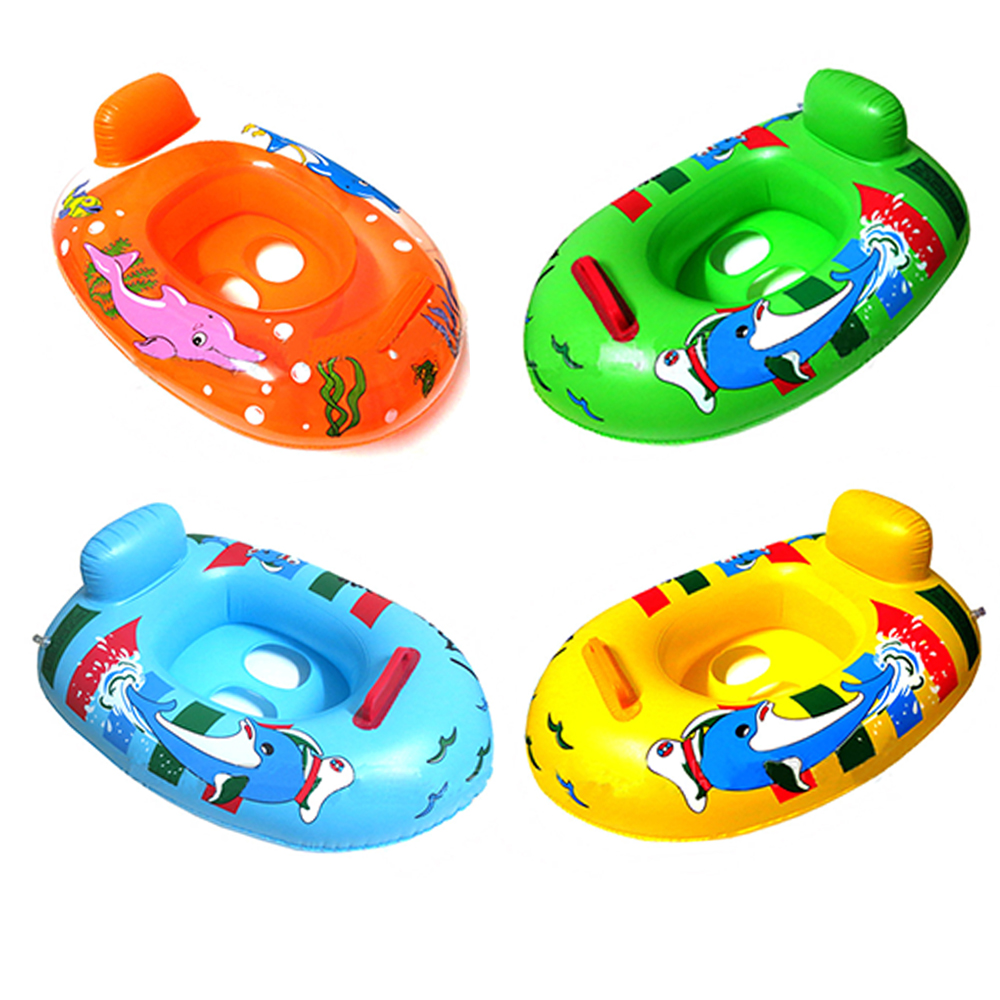 Water Sports Cartoon Boat-shaped Swimming Ring Inflatable Floating Bed Baby Inflatable Accessories Children's Air Mattress