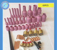 New 63Pcs TIG KIT Gas Lens & Alumina Cup Fit Tig Welding Torch for Large Gas Lens Set up in Torch 17 18 and 26 Series