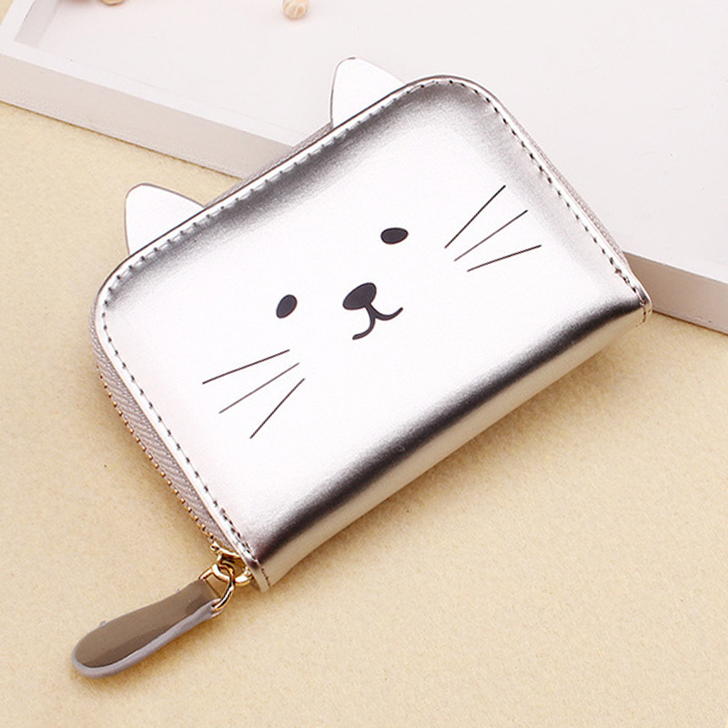 2019 women's mini wallet credit card holder cute cat bag female short zipper purse small fashionable coin bags for girls
