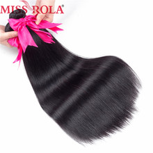 Miss Rola Pre-colored Peruvian Bundles Hair Straight   Human Hair weave Bundles #1B  Beauty Weave Hair Extensions 1pc/Lot