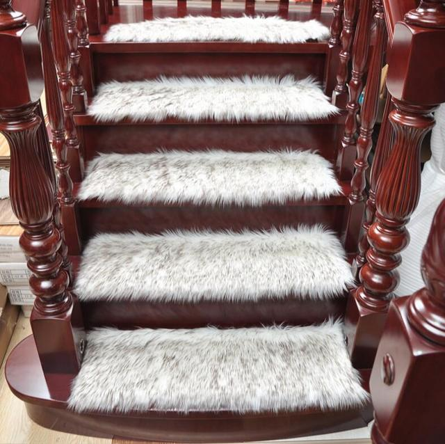 Superbe 1Pcs Staircase Shaggy Carpet Stair Treads Protector Mats Dustproof Stair  Mat Stair Rugs 65*24cm