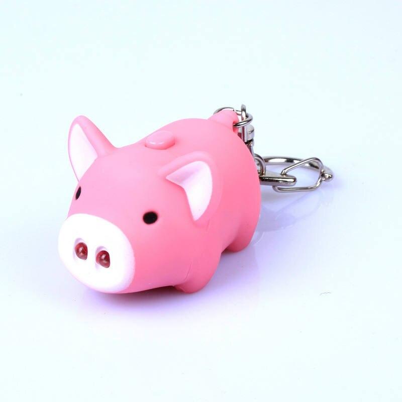 Cute Pig Led Keychains Flashlight Sound Rings Creative Kids Toys Pig Cartoon Sound Light Keychains Child Gift