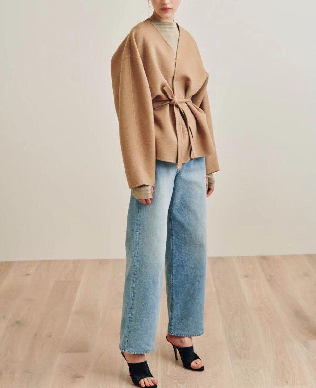 Lunel veste Chameau Couleur cachemire mélange Overjackets Drop Épaule V-COU trench ceinture de maintien LONGUE volumineux manches 2018fw