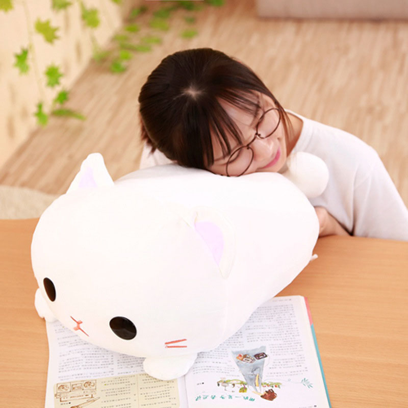 Mling 1PC Cartoon Cute Down Cotton Small Milk Cat Doll Plush Toy Soft Kneeling Cat Pillow Pillow Cushion Sofa Room Decoration