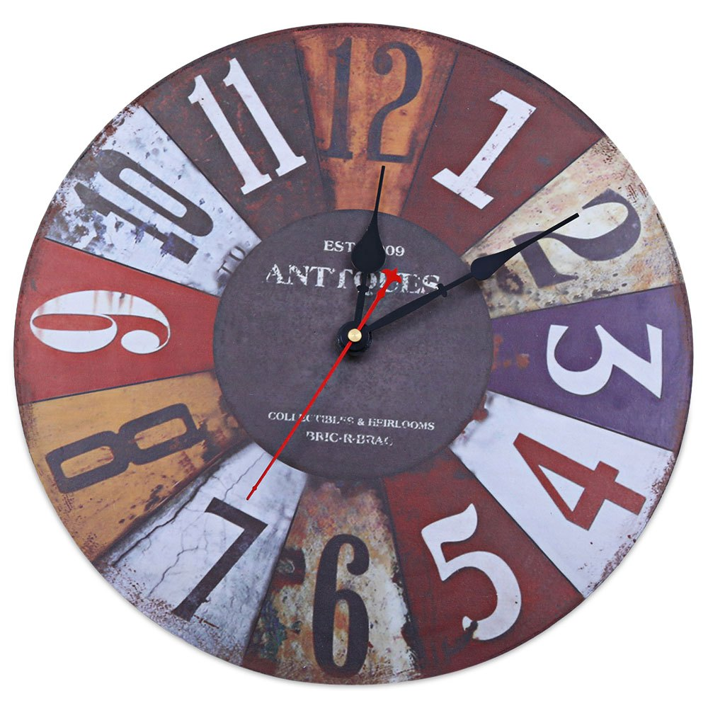 Fashion Colorful Scrawl Silent DIY Round Wall Clocks Decorative Wooden Arabic Numerals Clock For Home Cafe Bedroom Bar On Sale