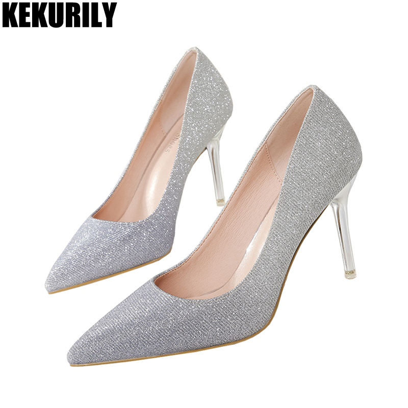5bd87c0a5bd2 Shoes Women Bling Wedding Slip on Pumps Fashion Metal High Heels Slides  Shallow Sandals gold silver pink bronze zapatos mujer