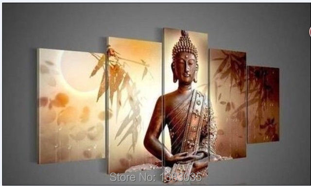 Hand Painted Abstract Portraits Paintings Bamboo Buddha Canvas Art Oil  Pictures On The Wall 5 Piece