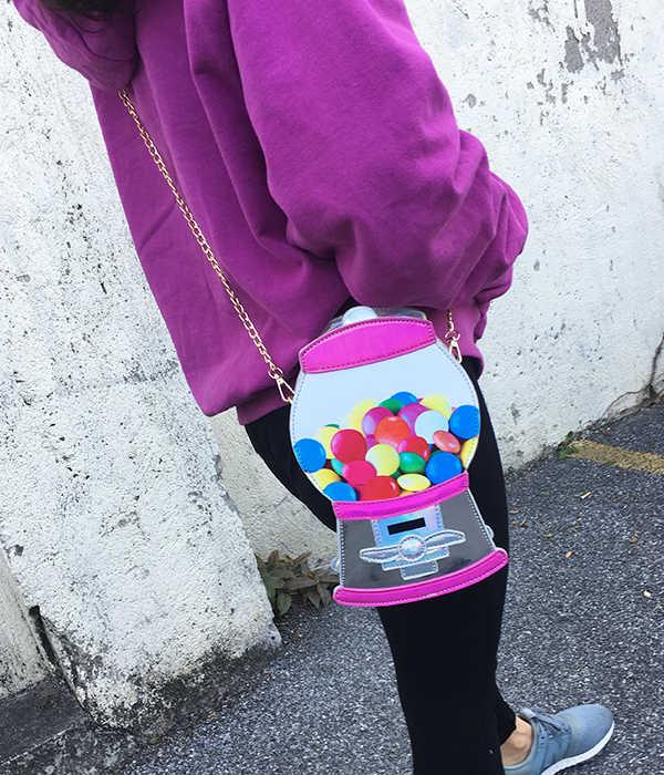 חמוד אופנה סוכריות מכונת Pu לייזר Pu נערה צעירה של Crossbody מיני שליח תיק כתף תיק תיק נשי דש Bolsa תיק