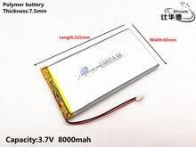 1 ชิ้น/ล็อตคุณภาพดี 3.7 V, 8000 mAH, 7565121 Polymer lithium ion/Li   Ion แบตเตอรี่สำหรับของเล่น, POWER BANK, GPS, mp3, mp4