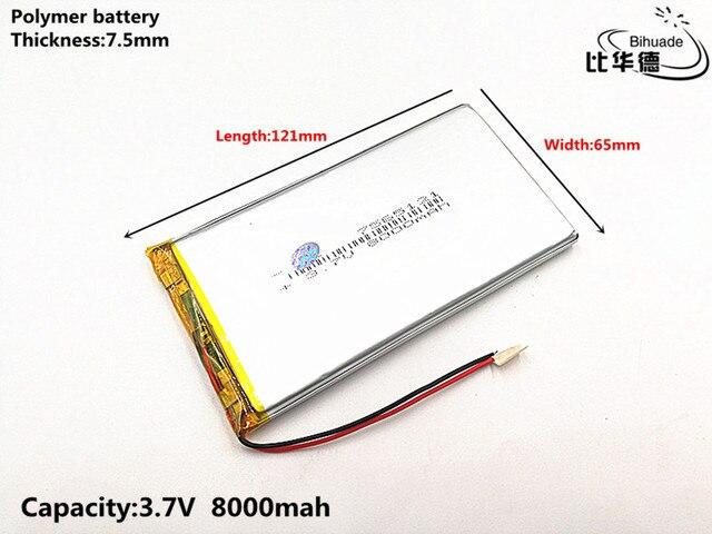1 pcs/lot bonne qualité 3.7 V, 8000 mAH, 7565121 polymère lithium ion/Li ion batterie pour jouet, batterie externe, GPS, mp3, mp4