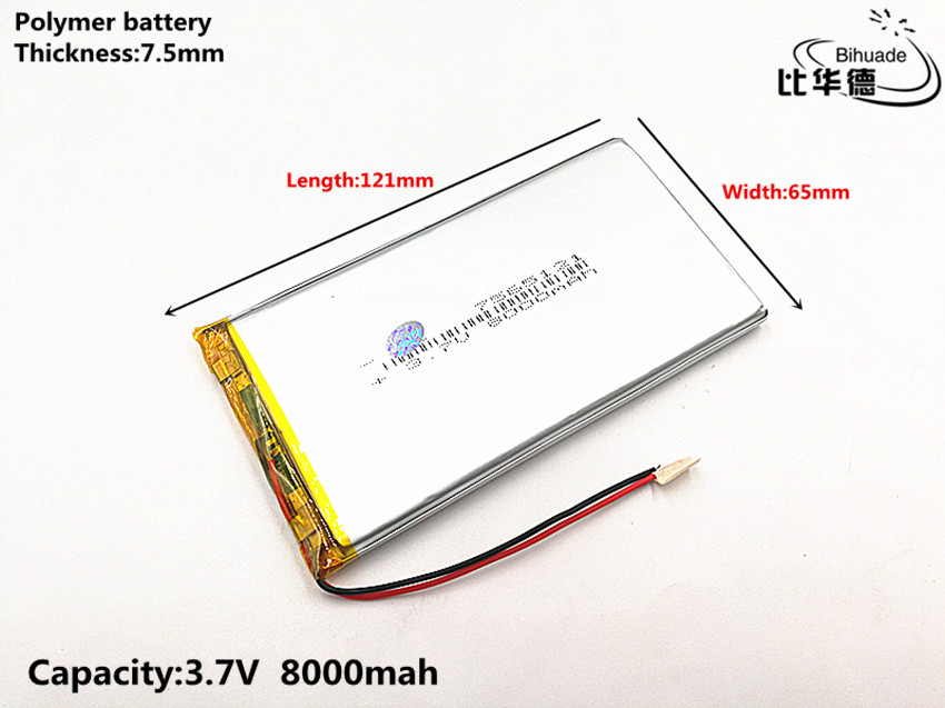 1pcs/lot Good Qulity 3.7V,8000mAH,7565121 Polymer Lithium Ion / Li-ion Battery For TOY,POWER BANK,GPS,mp3,mp4