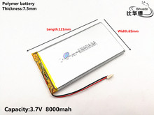 1pcs/lot Good Qulity 3.7V,8000mAH,7565121 Polymer lithium ion / Li-ion battery for TOY,POWER BANK,GPS,mp3,mp4