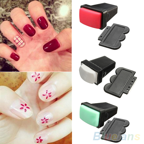 New Design Rubber Nail Art Polish Stamp Single/ Double Side Stamper Scraper Manicure Tool 76AA 7GWD B8AJ