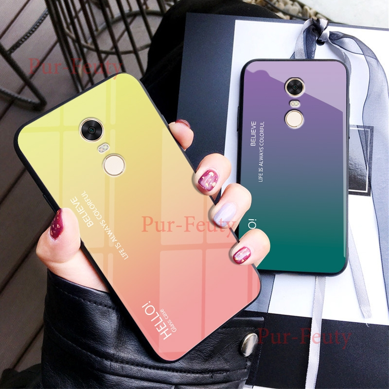 Case For Xiaomi Redmi 5 Plus 5Plus MEE7 MET7 MEG7 Fashion Hard Toughened glass Gradient Protective Back Cover For redmi 5 5plus