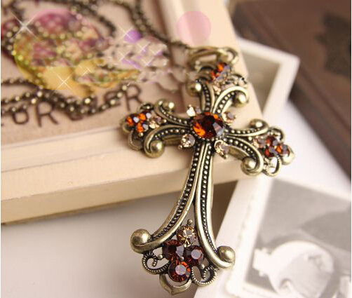 Fashion accessories all-match long necklace big cross design rhinestone chain pendant necklace female accessories