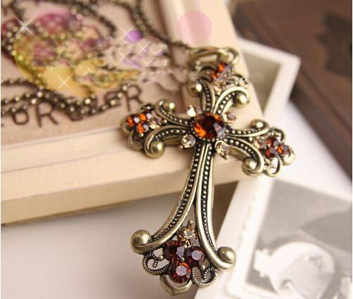 Fashion accessories all-match long necklace big cross design rhinestone chain pendant necklace female accessories