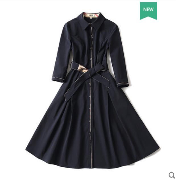 La nueva primavera de 2019 colección tiene un slim cintura slim cintura camisa falda con siete punto mangas línea falda acampanada falda y una rodilla-le