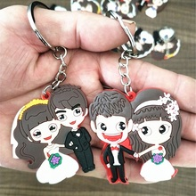 2018 Pop New Couple Cute Key chain bride and bridegroom Keyring Silicone Valentines Day key holder car wedding gift