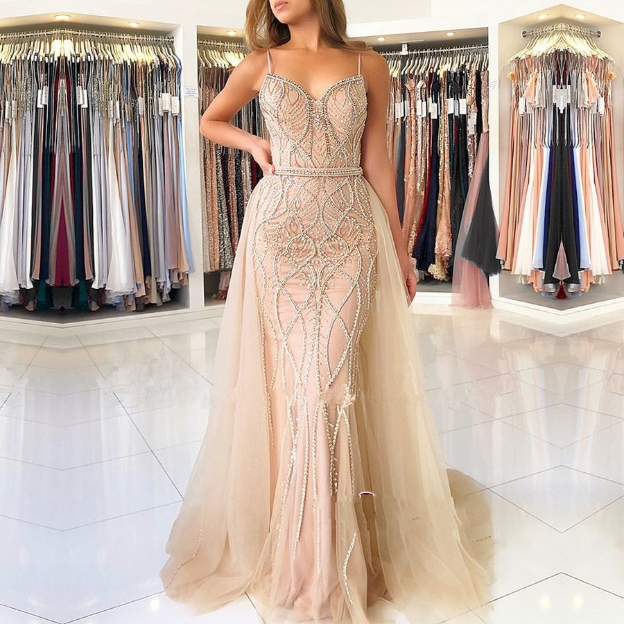 Stunning Spaghetti Strap   Prom     Dress   Mermaid Beaded Tulle Party Evening Gowns Sweetheart robe de bal longue