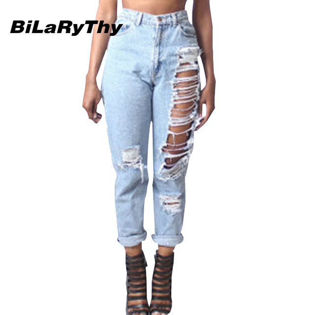 BiLaRyThy Fashion Women's Ripped Holes Denim Straight Pants Trousers Casual Loose Jeans Light Blue