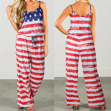 8c403849c4c4 2018 summer jumpsuits rompers womens American Flag Sleeveless Holiday  Sleeveless Long Playsuits Rompers Casual Jumpsuit  JP5