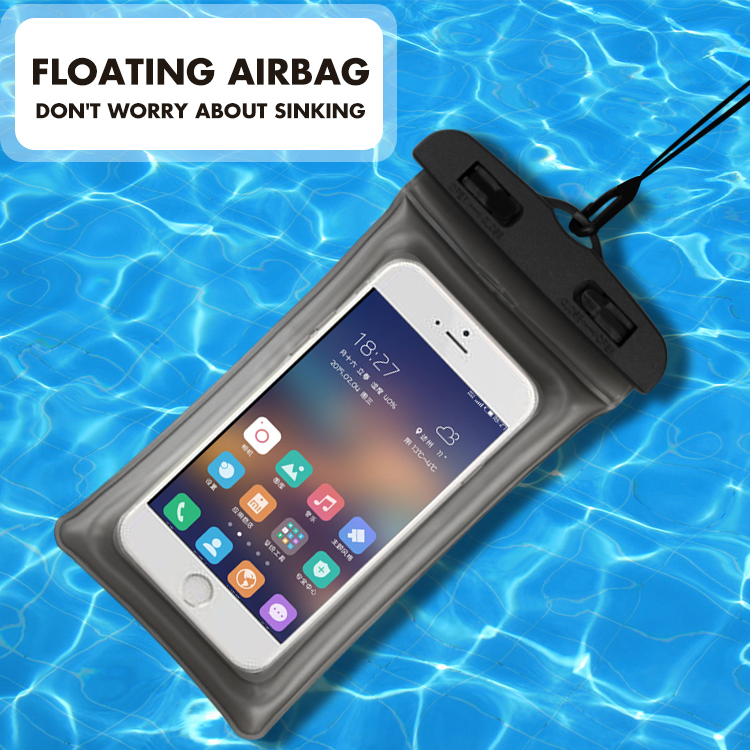 Universal 6.3 Inch Airbag Floating Swimming Bags Waterproof Touchscreen Phone Bag Underwater Pouch Phone Case For Iphone 8 8s