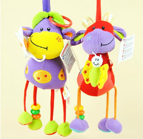Кэндис го! новые прибытия милые плюшевые игрушки животных крупного рогатого скота жираф детские игрушки куклы-кровать повесить подарок 1 шт...