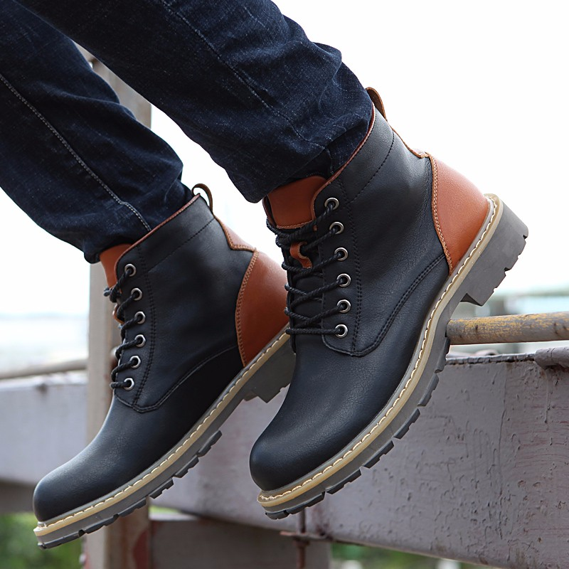 2016 Fashion Genuine Leather Boots Mens Shoes Casual Lace Up Flat Heel Motorcycle Boots Round Toe Men Ankle Boots Size 38-44 H72 (23)