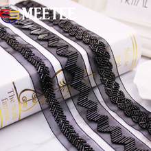 1Pack(2yards) 2.5CM Black Pearl Beaded Lace Trim Mesh  Ribbon Fabric Weding Dress Collar Sleeve Applique DIY Crafts