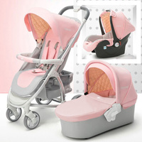 Baby Stroller 3 in 1 High Landscape Pram travel foldable pushchair Car Seat Baby sleeping basket Newborn cradle pink