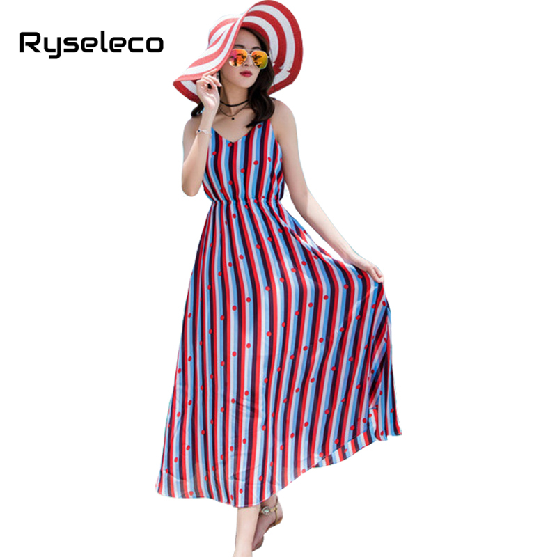 Ryseleco Summer Vacation Beach Chiffon Big Swing Striped Maxi Slip Dress Women Boho Spaghetti Strap A-Line V-Neck Long Vestidos vacation