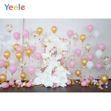 Yeele Colorful Balloons Flowers Baby Birthday Ceremony Scene Photography Backgrounds Photographic Backdrops For Photo Studio