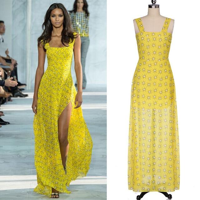 5b98cf5a1f74 2015 Runway Dress Summer Women Casual Strap Bohemian Floral Printed Chiffon  Dresses Fit Sleeveless Stylish Long Maxi Dress