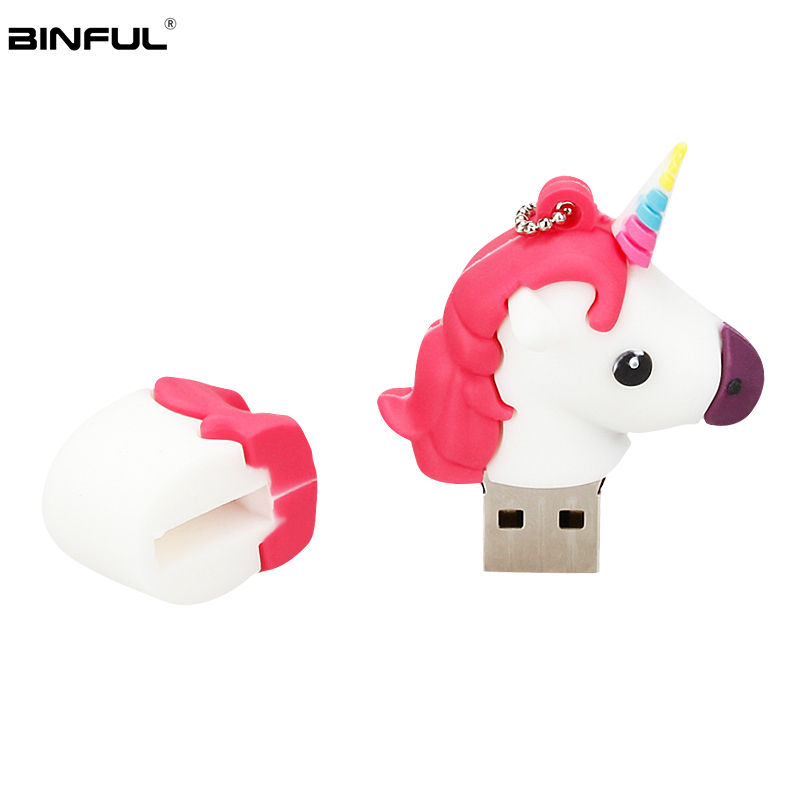 Image 5 - Silicone Cartoon Unicorn Usb Flash Drive 128GB 64GB 32GB Pen Drive Usb 2.0 16GB 8GB 4GB Flash Memory Portable Thumbdrives U Disk-in USB Flash Drives from Computer & Office
