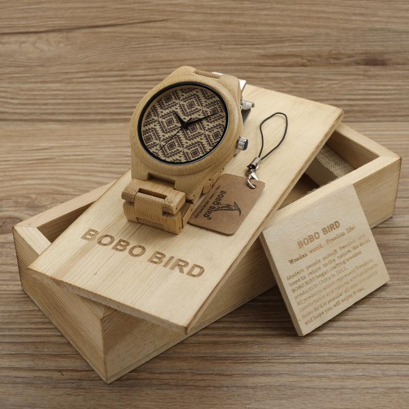 Prix pour BOBO BIRD Naturellement Hypoallergénique Minimalisme De Luxe Simplicité Bambou En Bois Montres Avec Tous Les Bois Sangles De Bambou