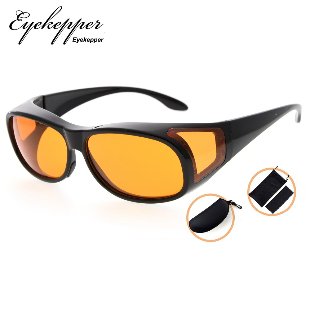 DSXM1804 Eyekepper 100% Blue Light Reduction,Fitover Anti Blue Blocking Computer Glasses with Extra Amber Lenses for Women.