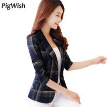 Blazer Feminin 2017 Women Blue Red Plaid Blazer Ol Style Slim Blazers And Jackets One Button Suit Girl Office Jacket Elegant 3xl(China)