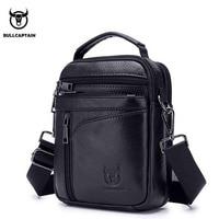 BULLCAPTAIN Men Genuine Leather Small Shoulder Messenger Bags Cross Body Mobile Phone Pocket Hand Bag Purse Brand Leather Bags