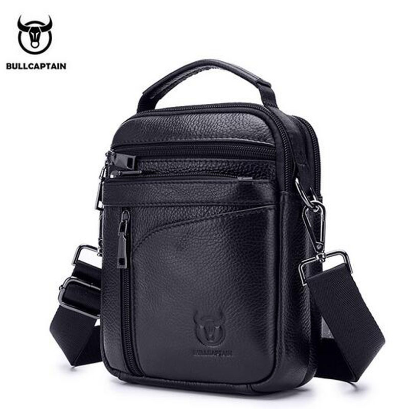 BULLCAPTAIN Men Genuine Leather Small Shoulder Messenger Bags Cross Body Mobile Phone Pocket Hand Bag Purse Brand Leather Bags