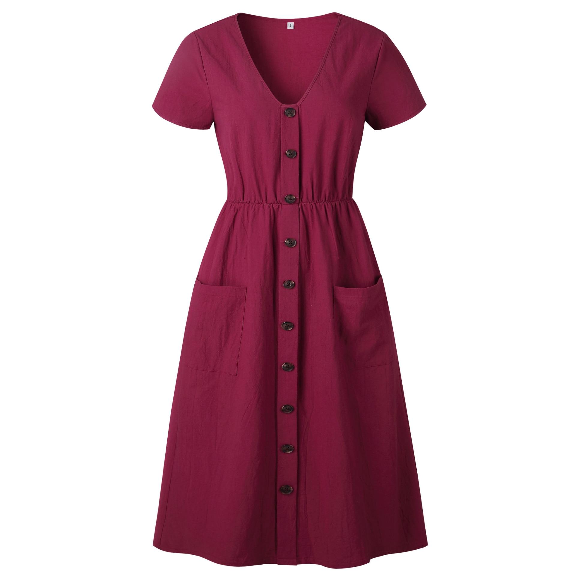 Red Blue A Line Casual Dresses Women Autumn Dress 19 Vintage Long Sleeve Dress For Ladies Buttons V Neck Midi Vestidos Female 91