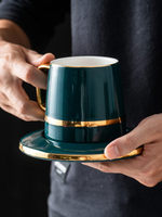 High Grade Ceramic coffee cup saucer set European coffee set home simple afternoon tea cup with spoon Free Shipping
