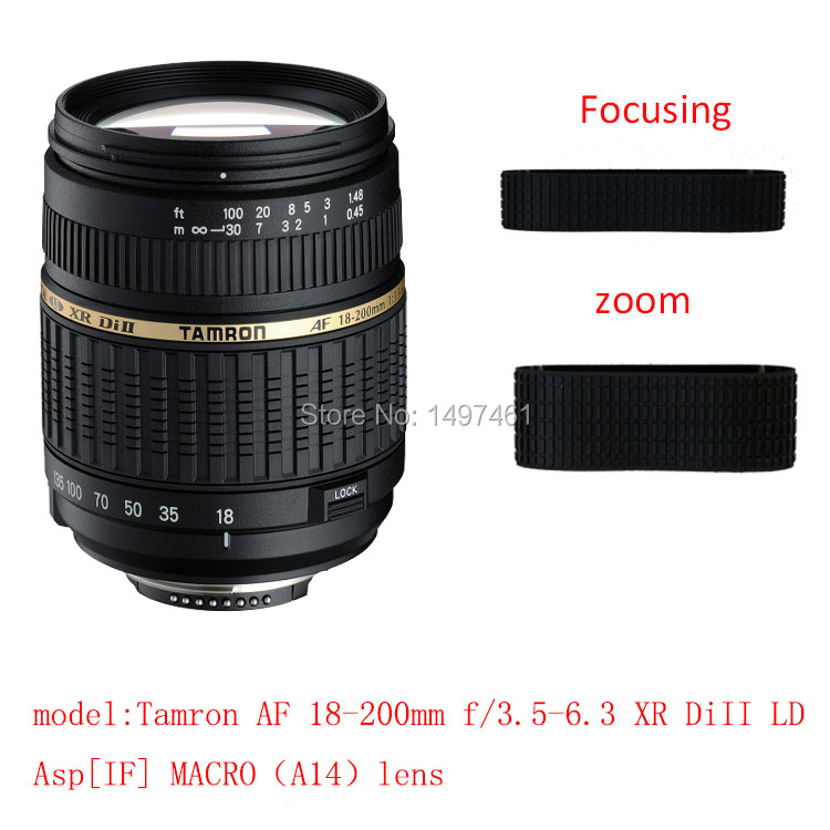 Lens Zoom and focus Rubber Ring/Rubber Grip Repair Succedaneum For Tamron AF18-200mm f/3.5-6.3 XR DiII LD Asp[IF] macro A14 lens